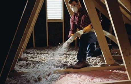Attic insulation with cellulose in Laval