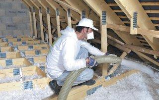 Isolation de toit à la laine soufflée, Saint-Hyacinthe