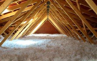 Isolation de toit a la laine fibre de verre soufflée, St-Hyacinthe