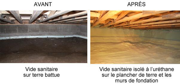 Rénovation de vide sanitaire (avant/après)